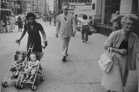 Rudy Burckhardt Untitled, New York (woman with double stroller), c.1978