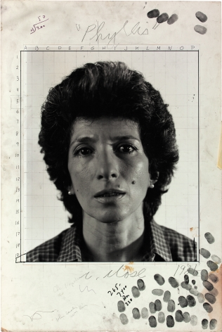 "Phyllis/maquette, 1981; gelatin silver print with graphite and ink mounted to board; image 20 x 16 inches, mounted 30 x 20 inches; signed, titled, and dated recto in pencil; ""maquette for Phyllis, 1984, pulp paper collage on canvas 92 x 72"" inscribed verso in pencil; unique © 2013 Chuck Close, courtesy Pace Gallery"