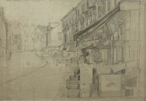 """Jack Martin Rogers. Market. c. 1965. Graphite on paper. 10 1/8"""" x 15 1/4"""" at Anita Rogers Gallery"""