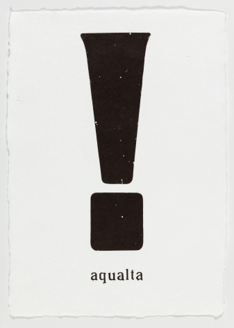 "Morgan O'Hara. LOST AND FOUND IN VENICE: aqualta. 2017. Letterpress printer's ink on handmade paper. 13 1/4"" x 9 3/4"""
