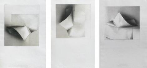 Gloria Ortiz-Hernández. Tuck triptych. 2013. Color pencil, oil pastel and pencil on Masa paper.