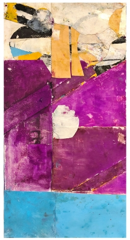 """Robert Szot. Untitled. 2019. Monotype collage, mixed media on paper. 26 1/2"""" x 13"""""""