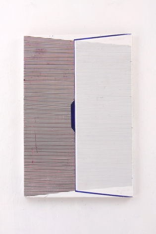 """Gordon Moore. Bookwurm. 2018. Acrylic, latex and pumice on canvas. 30"""" x 20"""" at Anita Rogers Gallery"""