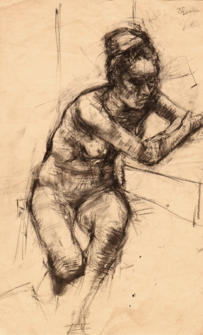 "Jack Martin Rogers. Study of a Nude. C. 1965. Charcoal on paper. 20 1/2"" x 12 3/4"""