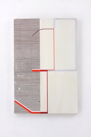 """Gordon Moore. Catawall. 2018. acrylic, latex and pumice on canvas. 30"""" x 20"""" at Anita Rogers Gallery"""