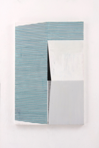 "Gordon Moore. Sliver. 2018. acrylic, latex and pumice on canvas. 30"" x 20"" at Anita Rogers Gallery"