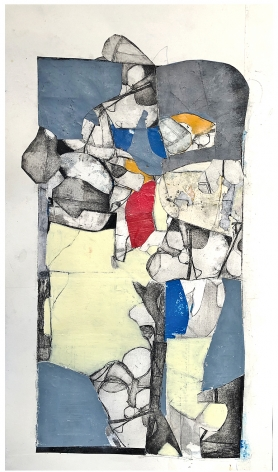 """Robert Szot's The Picturesque Survival Of Other Days (Study). 2020. Aquatint With Drypoint Etching, collage crayon and charcoal on paper. 20"""" x 10 1/4"""" at Anita Rogers Gallery"""