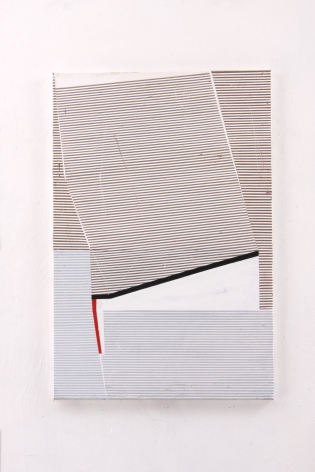 "Gordon Moore. Fault. 2018. acrylic, latex and pumice on canvas. 30"" x 20"" at Anita Rogers Gallery"