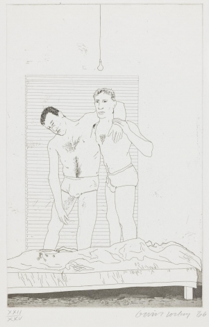 "David Hockney, One Night, 1966, Etching and aquatint on paper, 13 13/16"" × 8 7/8"" at Anita Rogers Gallery"