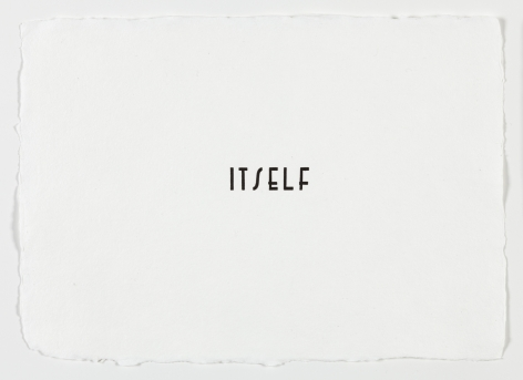 "Morgan O'Hara. LETTERPRESS SERIES: ITSELF #68. 2017. Letterpress printer's ink on handmade paper. 11"" x 7 3/4"" at Anita Rogers Gallery"