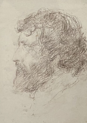 """Jack Martin Rogers. Portrait of a Man. 1977. Graphite on paper. 8 1/4"""" x 6"""" at Anita Rogers Gallery"""