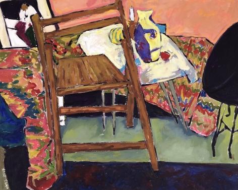 """Anas Albraehe. The Chair. 2017. Oil on canvas. 31 1/2"""" x 39"""""""