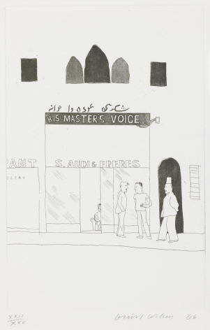 "David Hockney, The Shop Window of a Tobacco Store, 1966, Etching and aquatint on paper, 13 13/16"" × 8 7/8"" at Anita Rogers Gallery"