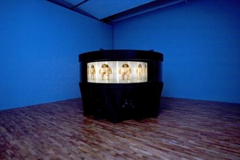 "Yishay Garbasz. Becoming, 2010. Photos, steel, makrolon, motor, light, wood, foil, cloth. 90 70/127"" x 118 14/127"""
