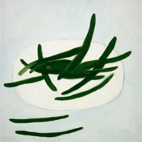 """William Scott, Green Beans on a White Plate, 1977-1978, oil on canvas, 20"""" x 20"""" at Anita Rogers Gallery"""