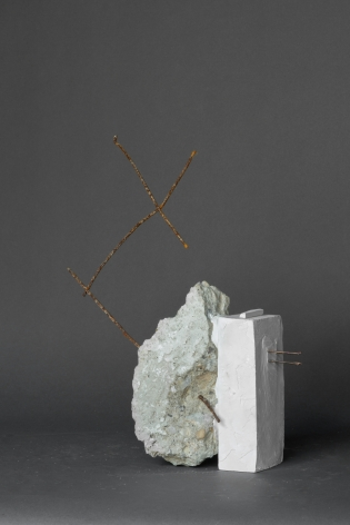 """Mark Webber. Fragments of a Patio Revisited 2. 2019. Steel, hydrocal, cement. 12"""" x 8"""" x 4"""" at Anita Rogers Gallery"""