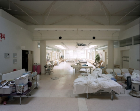 "Yishay Garbasz. Fukushima Prefectural Ono Hospital, Ono, Fukushima Nuclear Exclusion Zone, 2013. C-print. 31 1/2"" x 40"""