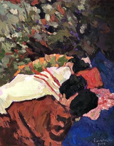 """Anas Albraehe. Untitled. 2021. Oil on canvas. 19 3/4"""" x 15 3/4"""""""