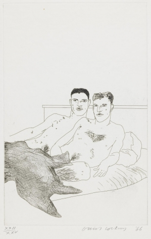 "David Hockney, The Beginning, 1966, Etching and aquatint on paper, 13 13/16"" × 8 7/8"" at Anita Rogers Gallery"
