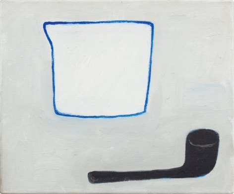 """William Scott, Jug and Pipe, 1983, oil on canvas, 10"""" x 12""""at Anita Rogers Gallery"""