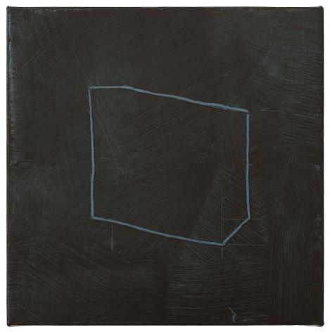 """Jan Cunningham. Black Earth Over Blue. 2018. Oil on linen. 8"""" x 8"""""""