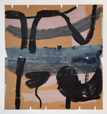 "Virva Hinnemo's Two Things (Acrylic on cardboard, 76 1/4"" x 71"") at Anita Rogers Gallery"