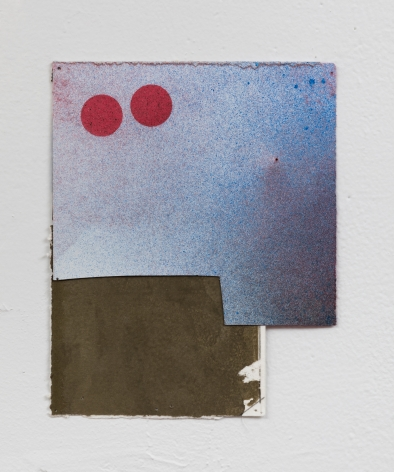 """George Negroponte. Marriage II (made with Virva Hinnemo). 2019. Gouache and Spray Paint on Paper. 6 1/2""""  x 5 1/2"""" at Anita Rogers Gallery"""