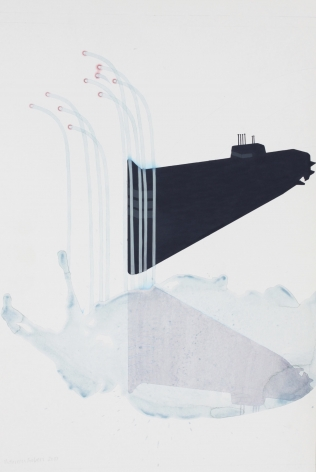 "Mahreen Zuberi. Sub. 2010. Pencil, gouache and watercolor on wasli. 13"" x 17.75"" at Anita Rogers Gallery"