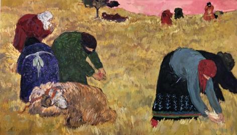 "Anas Albraehe. Mother Earth. 2020. Oil on canvas. 45"" x 78 3/4"""
