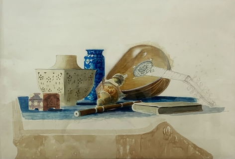 """Jack Martin Rogers. Still Life. c. 1995. Watercolor on paper. 15 1/8"""" x 22 5/16"""" at Anita Rogers Gallery"""