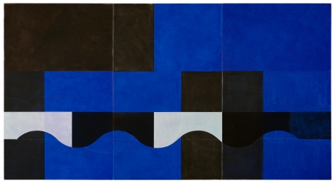 """Jan Cunningham. Blue Triptych. 2018. Oil on linen. 60"""" x 111"""" at Anita Rogers Gallery"""