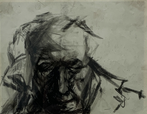 "Jack Martin Rogers. Portrait of a Man. Charcoal on paper. 6 7/8"" x 8 7/8"" at Anita Rogers Gallery"