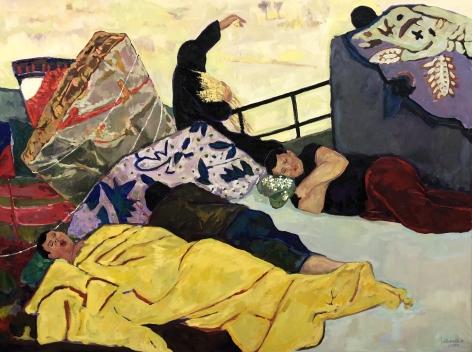 "Anas Albraehe. The Dream Catcher. 2018. Oil on canvas. 141 3/4"" x 78 3/4"""