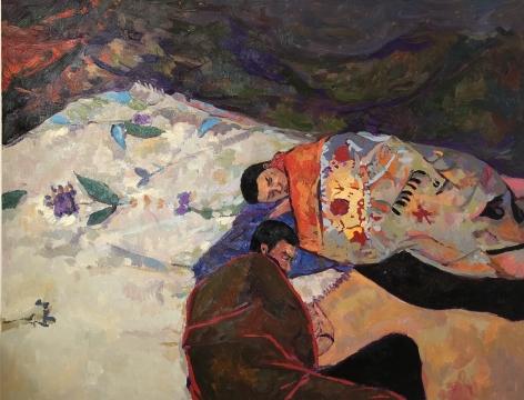 """Anas Albraehe. Untitled. 2021. Oil on canvas. 51"""" x 63 3/4"""""""