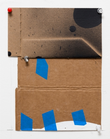 "George Negroponte's Lost (Tape, enamel, acrylic and spray paint on cardboard, 9 3/4"" x 6 3/4"") at Anita Rogers Gallery"