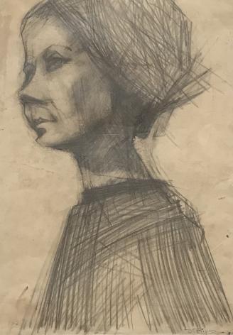 "Jack Martin Rogers. Pencil Portrait. 1962. Pencil on paper. 19 1/2"" x 13 3/4"" | Anita Rogers Gallery"