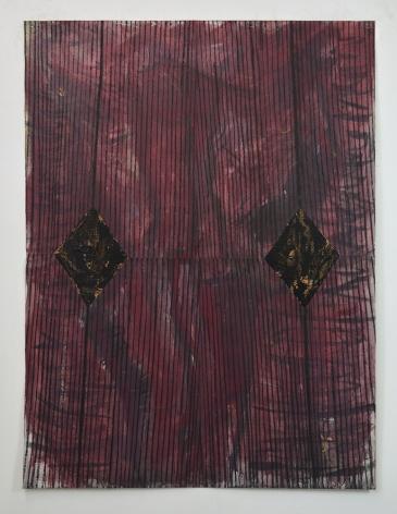 "Rafael Vega, Unititled, 2016-17, mixed media on canvas, 64"" x 48"" at Anita Rogers Gallery"