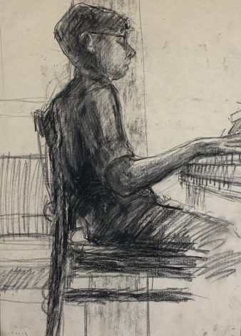 "Jack Martin Rogers. Boy Playing the Piano. 1964. Charcoal on paper. 20 1/2"" x 14"" at Anita Rogers Gallery"