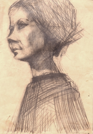 """Jack Martin Rogers. Pencil Portrait. 1962. Pencil on paper. 19 1/2"""" x 13 3/4"""" at Anita Rogers Gallery"""