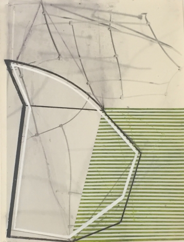 "Gordon Moore's Untitled (2012. Ink and Paint on Photo Emulsion Paper. 16"" x 12"") at Anita Rogers Gallery"