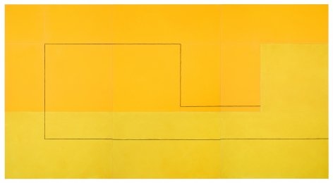 "Jan Cunningham. Yellow Triptych,. 2018. OIl on linen. 60"" x 111"""