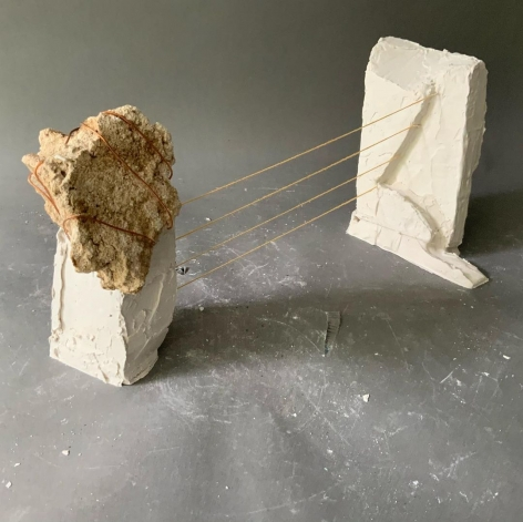 "Mark Webber. Untitled. 2020. Hydrocal, stone, copper wire and string. 14 1/2"" x 5 1/2"" x 5 3/4"" at Anita Rogers Gallery"