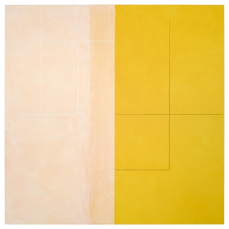 "Jan Cunningham. Yellow Reflection. 2018. Oil on linen. 60"" x 60"""