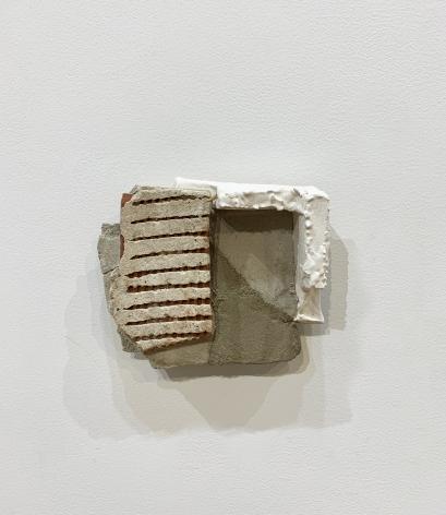 "Mark Webber. Fragment 11. 2019. Hydrocal, stucco. 6"" x 6 3/4"" x 2 1/4"""