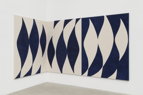 Sarah Crowner, Corner Painting, Pacific Blues, 2021