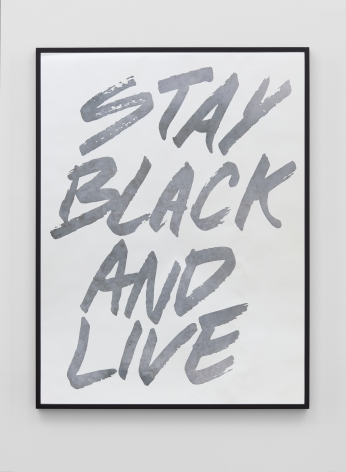 Hank Willis Thomas Stay Black and Live (silver and black), 2019