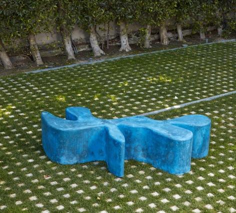 Sarah Crowner Concrete Sculpture, blue, 2019