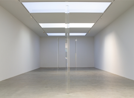 Installation view from the exhibition, Robert Irwin: Dotting the i's and Crossing the t's, Pace Gallery, 32 East 57th Street (Part I) and 510 West 25th Street (Part II), New York, September 6–October 20, 2012. From left: Untitled (Acrylic Column), 1969-2012; Untitled (Acrylic Column), 1969-2012; Untitled (Acrylic Column), 1969-2012.