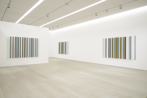 Installation view from the exhibition,Robert Irwin: Unlights, Pace Gallery, 540 West 25thStreet, New York, January 17–February 22, 2020. From left:Kilts, 2018;Buzy Body, 2018;Thou Swell, 2018.