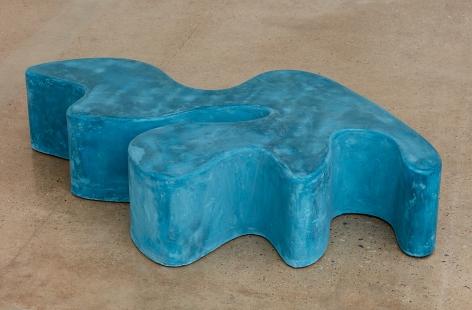 Sarah Crowner Concrete Sculpture, blue-green, 2019